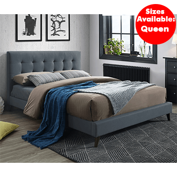 Yulara Upholstered Bed in Charcoal